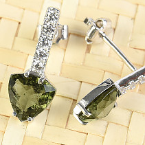 Earrings with zircons moldavites a triangle 8 mm Ag 925/1000 Rh