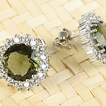 Moldavite earrings with cubic zirconia round 9 mm Ag 925/1000 Rh +