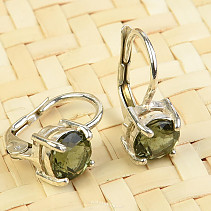 Moldavite earrings facetted round 6-6,5mm 925/1000 Ag
