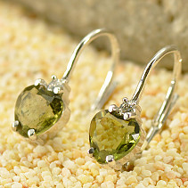 Moldavite heart earrings + zircon 6x6mm Ag 925/1000 Rh +