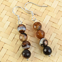 Earrings agate beads 6 mm