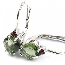 Moldavite earrings heart and garnet Ag 925/1000 Rh + 6x6mm