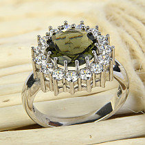 Moldavite ring with zircons Ag 925/1000 Rhodium + 10 mm