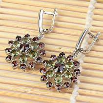 Earrings with moldavites and garnets flower Ag 925/1000 + 10 g Rh