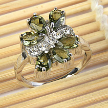 Moldavites ring with a cubic zirconia flower 925/1000 Ag + Rh