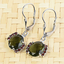 Moldavite earrings with oval garnet Ag 925/1000