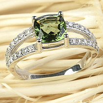 Moldavite ring with cubic zirconia 7x7mm 925/1000 Ag + Rh