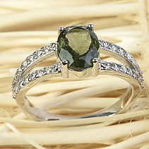 Moldavite with cubic zirconia ring cut 9x7mm silver Ag 925/1000 En + Rh