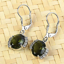 Moldavite oval earrings with cubic zirconia Silver Ag 925/1000