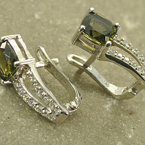 Moldavite silver earrings and zircon 7x7mm 925/1000 Ag + Rh