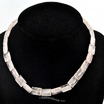 Rose quartz necklace 43 cm rectangle