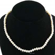 Necklace of white pearls round 6 mm 45 cm