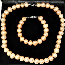 Gift Set round pearls 13 mm apricot (50 + 21 cm)