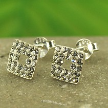 Silver earrings with cubic zirconia Ag 925/1000 7 mm