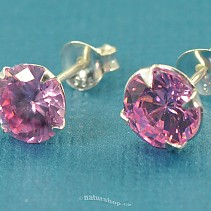 Ag earrings zircon rose 7 mm