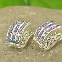 Ag 925/1000 silver earrings purple