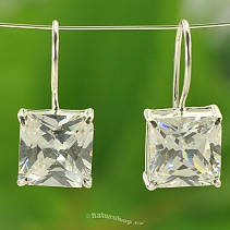 Ag earrings zircon white square