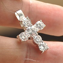 Silver cross pendant with zircons Ag 925/1000