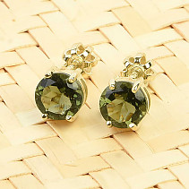 Gold earrings Moldavite (Au 585/1000)