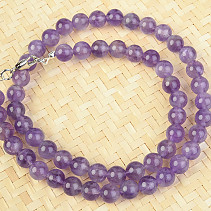 A necklace of amethyst beads 8 mm 48 mm