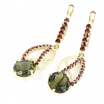 Gold earrings with garnets moldavites and 6.95 g Au 585/1000 14K