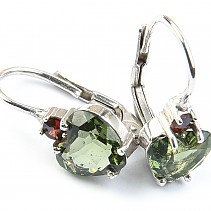 Earrings Moldavite heart and garnet Ag 925/1000 Rh + 7x7mm