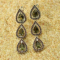 Luxury earrings with garnets and moldavite Ag 925/1000 + Rh multi-row drops