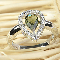 Moldavite ring with cubic zirconia teardrop 14x10mm Ag 925/1000 + Rh