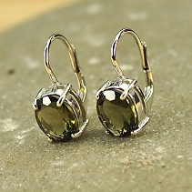 Moldavite earrings oval cut 9x7mm standard Ag 925/1000 Rh +