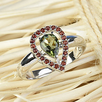 Moldavite ring with garnet teardrop 14x10mm Ag 925/1000