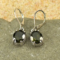Moldavite earrings oval 10x9mm standard cut Ag 925/1000 Rh +