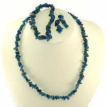 Apatite dark jewelry set - necklace 45 cm + earrings + bracelet