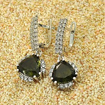 Moldavite with cubic zirconia earrings 10x10mm 925/1000 Ag + Rh