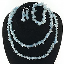Aquamarine jewelry set - necklace 90 cm + earrings + bracelet