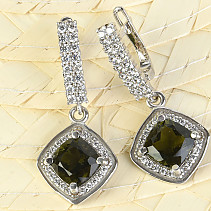 Moldavite with cubic zirconia diamond earrings 8 mm Ag 925/1000 Rh +
