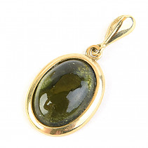 Pendant with moldavite Au 585/1000 14K gold 2.91 g