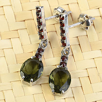 Moldavite silver earrings with garnets oval cut 9x7mm 925/1000 Ag + Rh