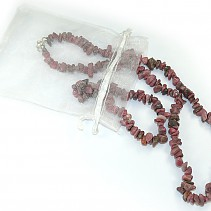 Rodonit jewelry set - necklace + bracelet 45 cm