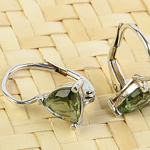 Earrings with moldavite 6 mm trine Ag 925/1000