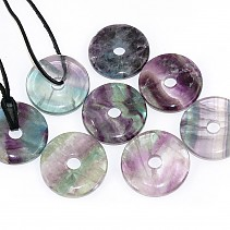 Fluorite donut pendant leather 35 mm