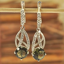Luxury moldavite earrings with cubic zirconia 925/1000 Ag + Rh