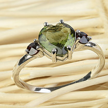 Moldavite heart ring with garnet standard cut 925/1000 Ag + Rh