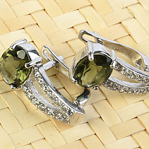 Luxury earrings with cubic zirconia and moldavite 925/1000 Ag + Rh