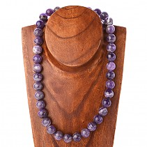 Amethyst necklace beads 14 mm 52 cm