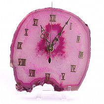 Clock pink agate with plastic stand 15.5 x 14.5 cm