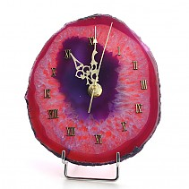 Clock colored agate with metal stand 14.5 x 12.5 cm