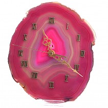 Clock pink agate with plastic stand 20 x 17 cm