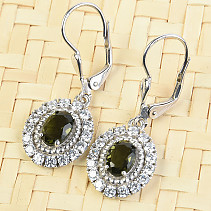 Moldavite oval earrings with cubic zirconia 925/1000 Ag + Rh