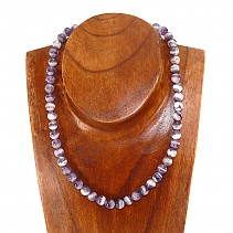 Amethyst striped beads necklace 45 cm