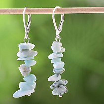 Larimar earrings chopped shapes Ag closure